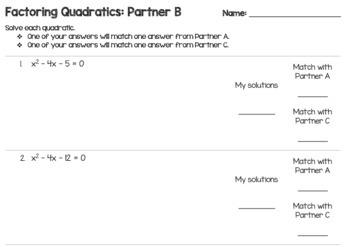 Solving Quadratics with Factoring - Partner Review Activity