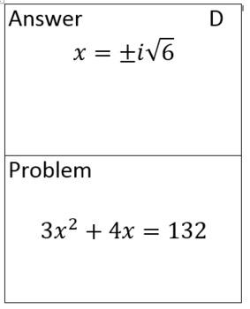 Solving Quadratics with Quadratic Formula (exact answers) Scavenger Hunt