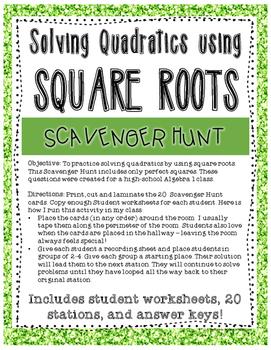 Solving Quadratics with Square Roots Scavenger Hunt
