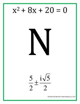 Solving Quadratics (Non-Real Solutions) Scavenger Hunt