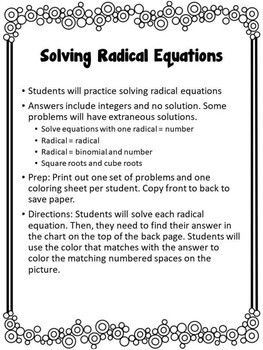 Solving Radical Equation Color By Number {Christmas Themed}
