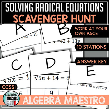 Solving Radical Equation Scavenger Hunt