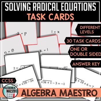 Solving Radical Equation Task Cards