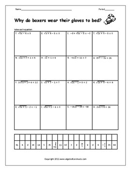 Solving Radical Equations Worksheet By Algebra Funsheets Tpt