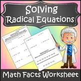Solving Radical Equations Activity {Radical Equations Worksheet Activity}