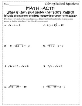 Solving Radical Equations Activity {Radical Equations Worksheet Activity}