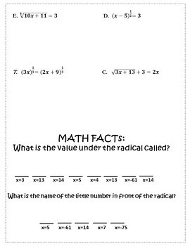 Solving Radical Equations Activity