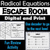 Solving Radical Equations Game: Algebra Escape Room Math Activity