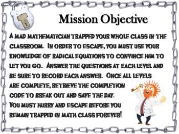 Solving Radical Equations Game: Algebra Escape Room Math Activity