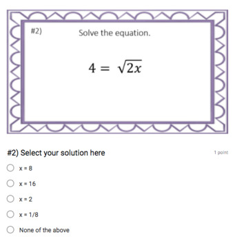 Solving Radical Equations (Google Form & Interactive Video Lesson!)