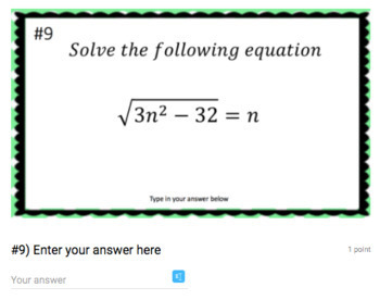 Solving Radical Equations - Google Form & Video Lesson!