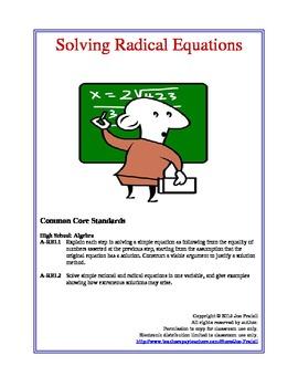 Solving Radical Equations Lesson Plan
