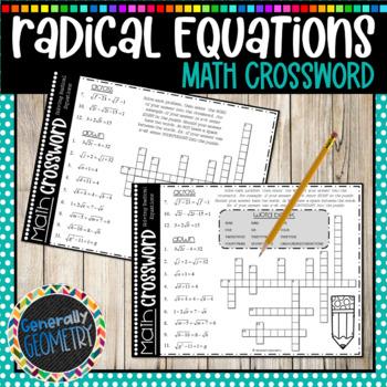 Solving Radical Equations Math Crossword; Algebra 1, Algebra 2