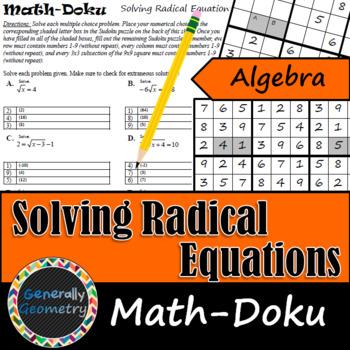 Solving Radical Equations Math-Doku; Algebra 1, Sudoku