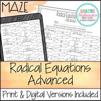Radical Equations Maze - Advanced