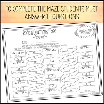 Printable Math Worksheets For 6th Grade Radical Equations Maze  Advanced By Amazing Mathematics  Tpt Army Body Fat Worksheet Male Word with Computer Technology Worksheets Excel Radical Equations Maze  Advanced Gerunds Participles And Infinitives Worksheets Word