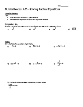 Solving Radical Equations - Notes