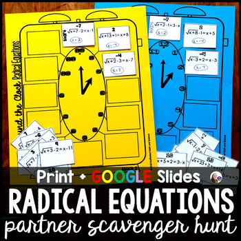 Solving Radical Equations Partner Scavenger Hunt Activity Tpt