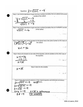 Solving Radical Equations Placemat