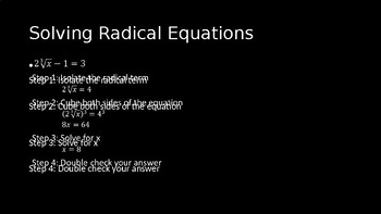 Solving Radical Equations - PowerPoint Lesson (5.5)