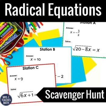 Radical Equations Scavenger Hunt