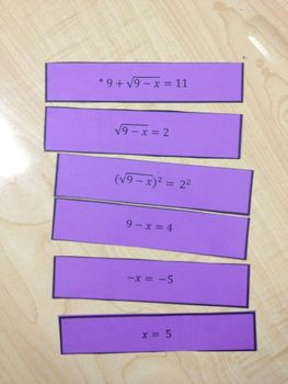 Solving Radical Equations Sequence Activity