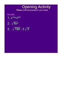 Solving Radical Equations SmartBoard Lesson