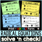 Solving Radical Equations Solve 'n Check! Task Cards - pri