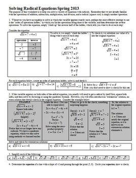 Solving Radical Equations Spring 2013 (Editable)