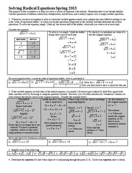 Solving Radical Equations Spring 2013