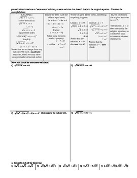 Solving Radical Equations Spring 2014 (Editable)