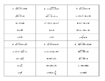 Steps in Solving Radical Equations