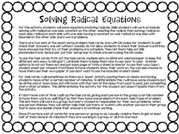 Solving Radical Equations Task Cards