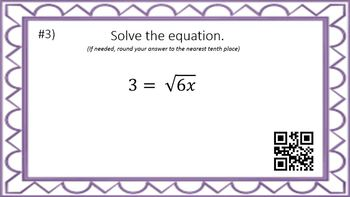Solving Radical Equations - Task Cards & Interactive Video Lesson!