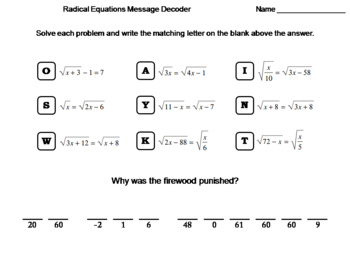 Solving Radical Equations Worksheet: Math Message Decoder by Science ...