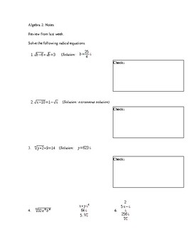 Solving Radical Equations  and Inequalities Notes