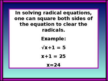 Algebra PowerPoint: Solving Radical Equations with GUIDED NOTES
