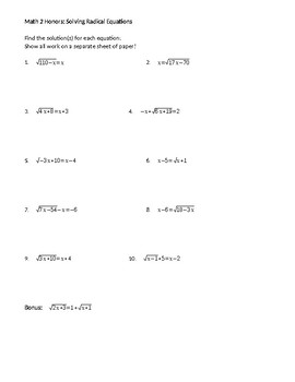 solving radical equations worksheet - Solving Radical Equations Worksheet