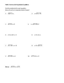 Solving Radical Equations worksheet