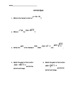 Solving Radical Functions and Inverse Functions Quiz