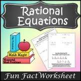 Solving Rational Equations Activity {Rational Equations Worksheet Activity}