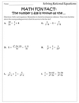 Solving Rational Equations Activity {Rational Equations Worksheet ...