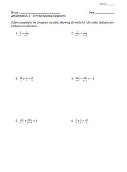 Solving Rational Equations - Assignment