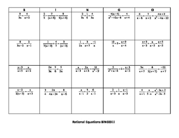 Solving Rational Equations BINGO/Blackout