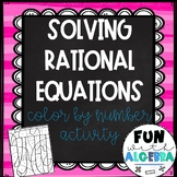 Solving Rational Equations Color By Number Activity