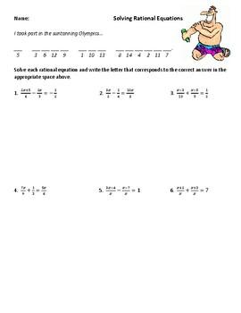 Solving Rational Equations (Med. Difficulty) Joke Worksheet