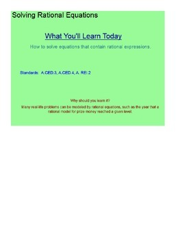 Solving Rational Equations SmartBoard Lesson