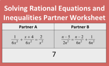 Solving Rational Equations and Inequalities Partner Worksheet