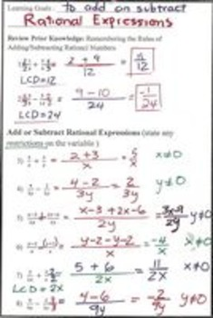 Rational Functions Lessons 5 & 6