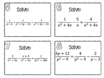 Solving Rational Equations Task Cards